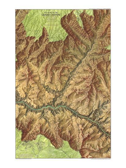 1978 Heart of the Grand Canyon Map-National Geographic Maps-Premium Giclee Print
