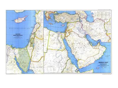 photo about Printable Maps of Middle East titled 1978 Heart East Map Artwork Print by means of Nationwide Geographic Maps