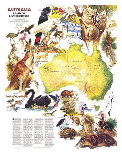 1979 Australia, Land of Living Fossils Map-National Geographic Maps-Art Print
