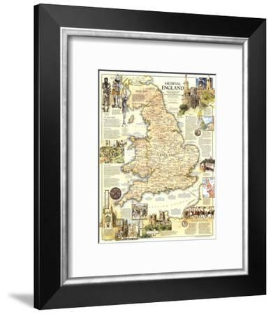 1979 Medieval England Map-National Geographic Maps-Framed Art Print