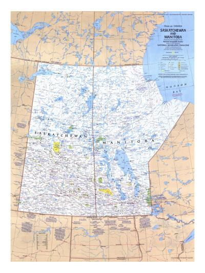 1979 Saskatchewan and Manitoba Canada Map-National Geographic Maps-Art Print