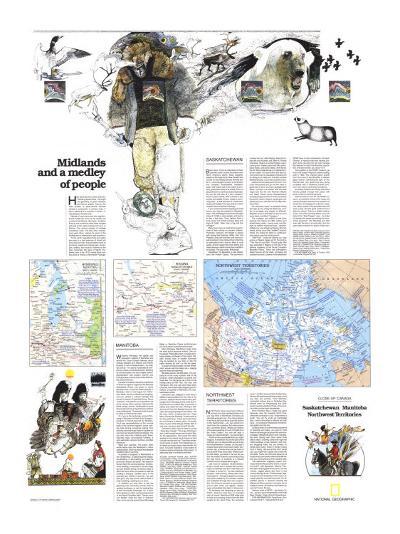 1979 Saskatchewan and Manitoba Map-National Geographic Maps-Art Print