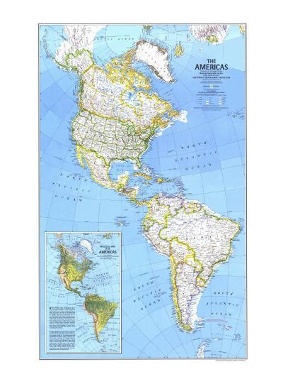 1979 The Americas Map-National Geographic Maps-Art Print