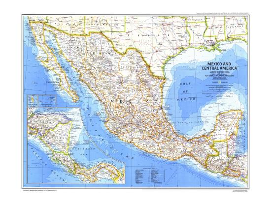 1980 Mexico and Central America Map Art Print by National Geographic Maps    Art.com