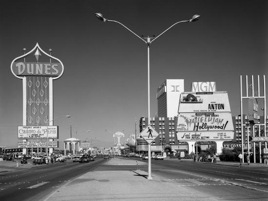 1980s Daytime the Strip with Signs for the Dunes Mgm Flamingo Las Vegas, Nevada--Photographic Print