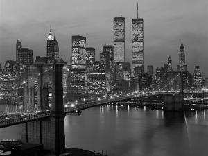 1980s New York City Lower Manhattan Skyline Brooklyn Bridge World Trade Center