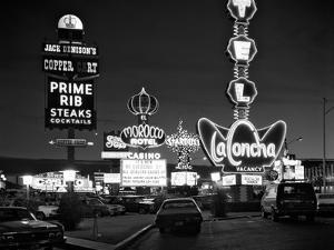 1980s Night Neon on the Strip for El Morocco La Concha Stardust Las Vegas,, Nevada