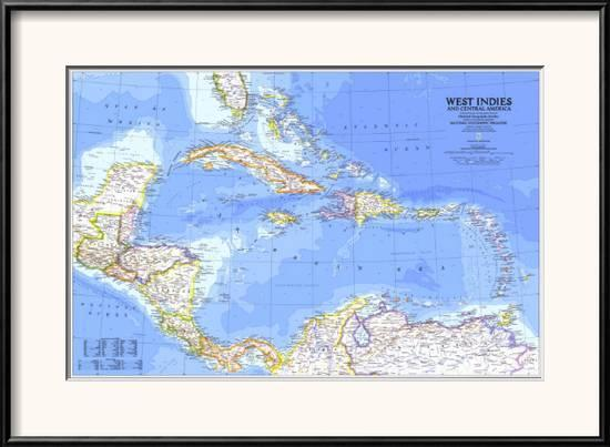 1981 West Indies and Central America Map Framed Art Print by National  Geographic Maps | Art.com