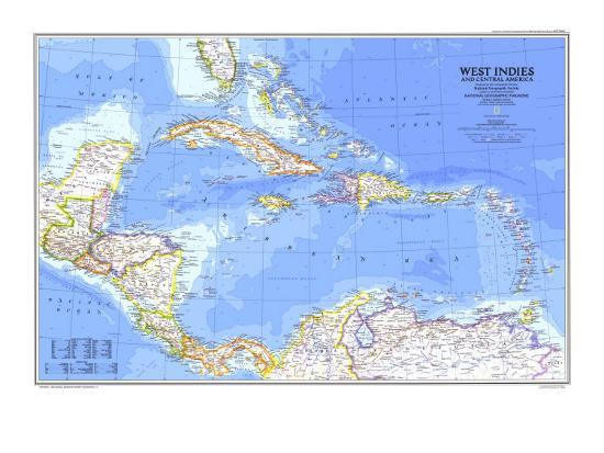 1981 West Indies and Central America Map-National Geographic Maps-Art Print