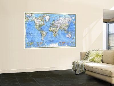 1981 World Map-National Geographic Maps-Wall Mural