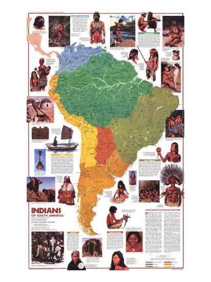 1982 Indians of South America Map Art Print by National Geographic on indian history map, indian nation map, indian asia map,