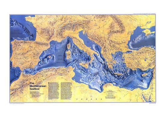 1982 Mediterranean Seafloor Map Art Print By National Geographic Maps Art Com