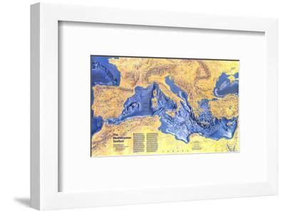 1982 Mediterranean Seafloor Map-National Geographic Maps-Framed Art Print