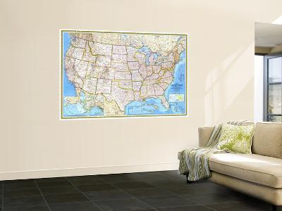 1982 United States-National Geographic Maps-Wall Mural
