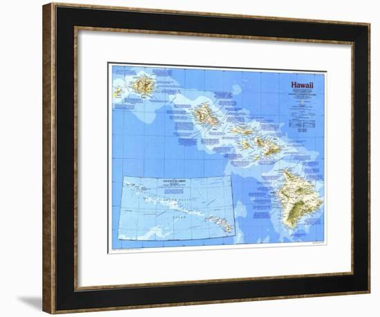 1983 Hawaii Map-National Geographic Maps-Framed Art Print