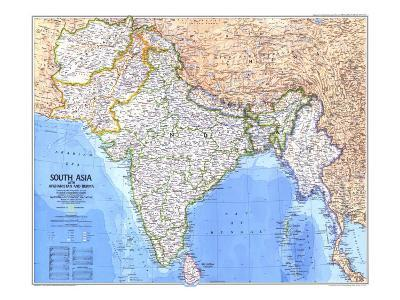 1984 South Asia With Afghanistan and Burma Map-National Geographic Maps-Art Print