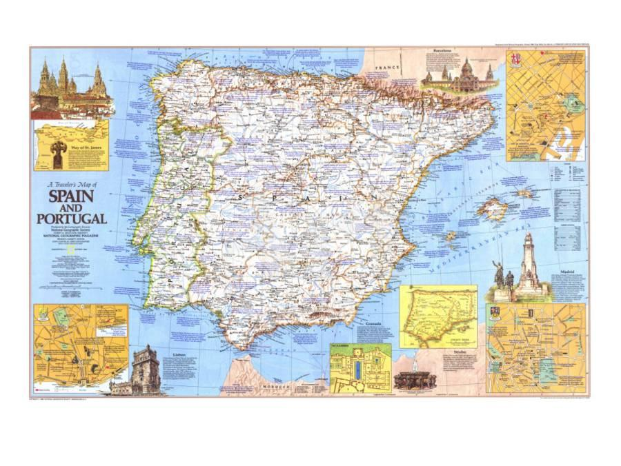 Map Of Spain Portugal.1984 Travelers Map Of Spain And Portugal Art Print By National Geographic Maps Art Com