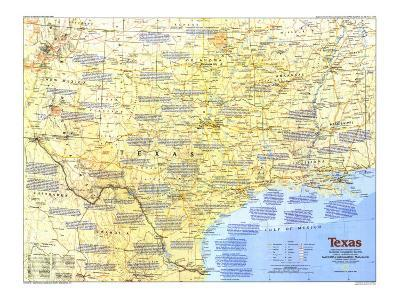 1986 Texas Map-National Geographic Maps-Art Print