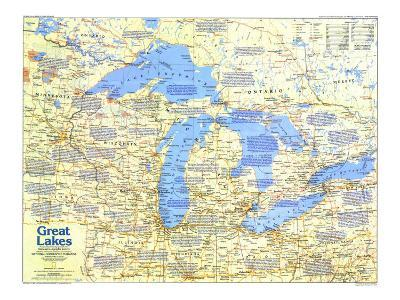 1987 Great Lakes Map Side 1-National Geographic Maps-Art Print