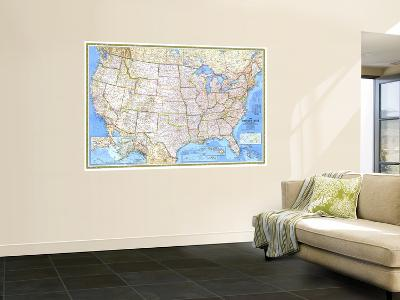 1987 United States Map-National Geographic Maps-Wall Mural