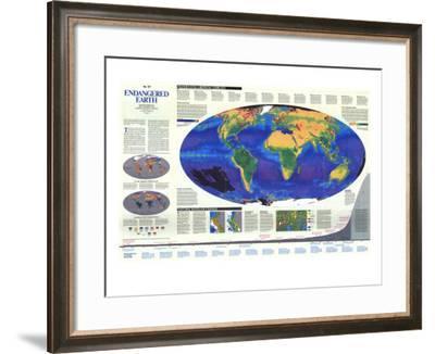 1988 Endangered Earth Map-National Geographic Maps-Framed Art Print