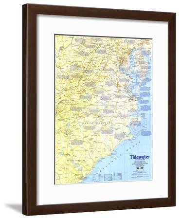 1988 Tidewater and Environs Map-National Geographic Maps-Framed Art Print