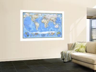 1988 World Map-National Geographic Maps-Wall Mural