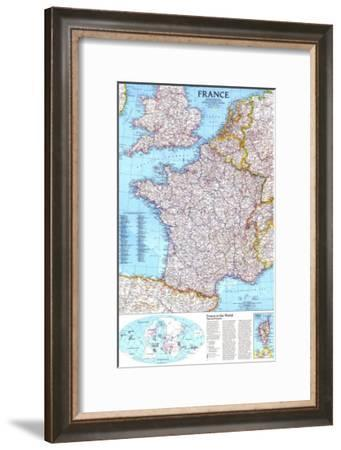 1989 France Map-National Geographic Maps-Framed Art Print