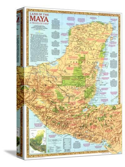 1989 Land of the Maya Map-National Geographic Maps-Stretched Canvas Print