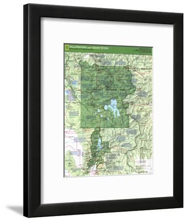 1989 Yellowstone and Grand Teton Map Side 1-National Geographic Maps-Framed Art Print