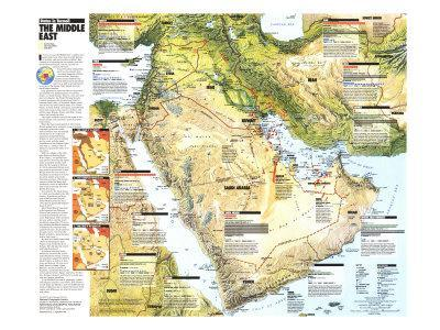 photograph regarding Printable Maps of Middle East identify 1991 Center East, Claims inside of Turmoil Map Artwork Print as a result of Nationwide Geographic Maps