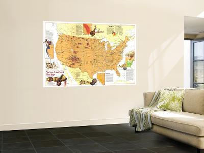 1991 Native American Heritage Map-National Geographic Maps-Wall Mural