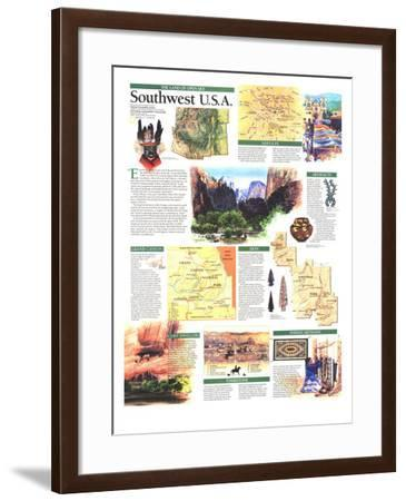 1992 Southwest, USA Map, Land of Open Sky-National Geographic Maps-Framed Art Print