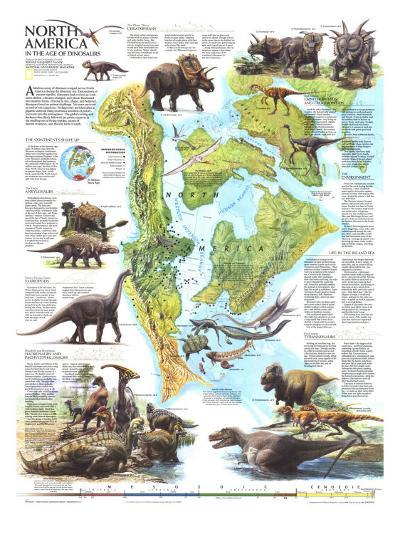 1993 North America in the Age of the Dinosaurs Map-National Geographic Maps-Art Print