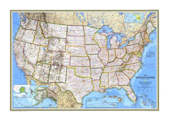 1993 United States Map Art Print by National Geographic Maps | Art.com