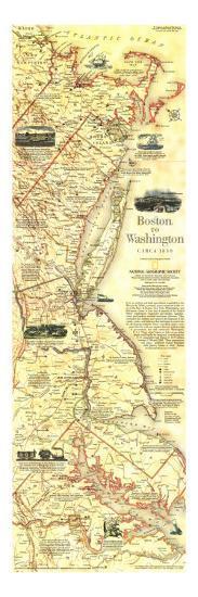 1994 Boston To Washington Circa 1830 Map-National Geographic Maps-Art Print