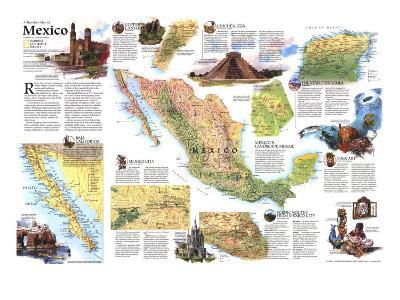 1994 Travelers Map of Mexico-National Geographic Maps-Art Print