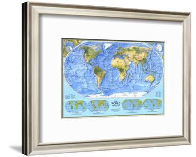 1994 World Physical Map-National Geographic Maps-Framed Art Print