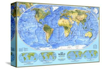 1994 World Physical Map-National Geographic Maps-Stretched Canvas Print