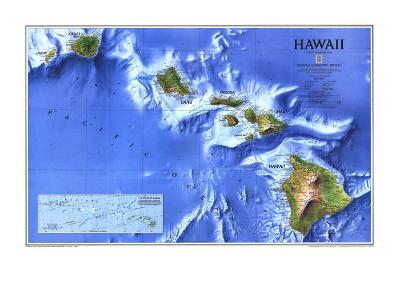 1995 Hawaii Map-National Geographic Maps-Art Print