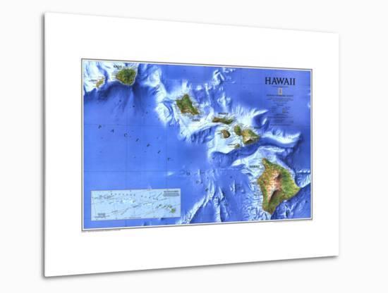 1995 Hawaii Map-National Geographic Maps-Metal Print