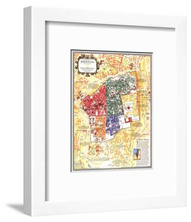 1996 Jerusalem, the Old City Map-National Geographic Maps-Framed Art Print