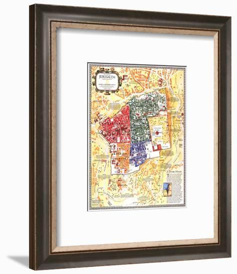 1996 Jerusalem, the Old City Map-National Geographic Maps-Framed Art Print