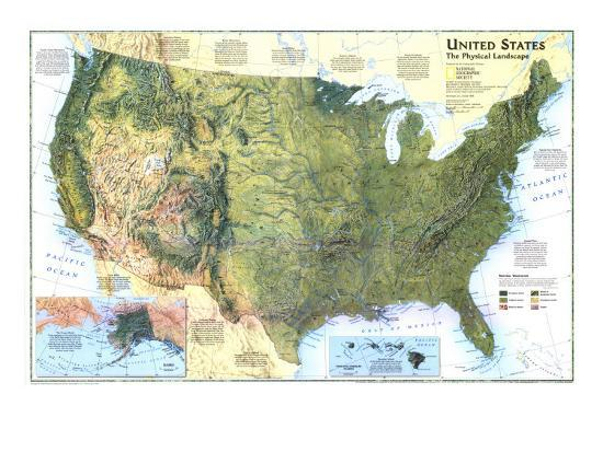 1996 United States, the Physical Landscape Map Art Print by National ...