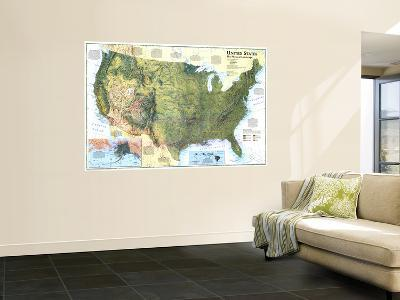 1996 United States, the Physical Landscape Map-National Geographic Maps-Wall Mural