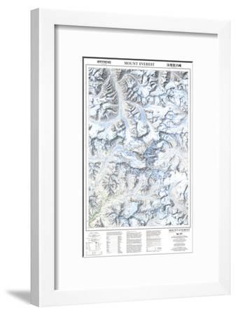 1999 Mount Everest/Himalayas Map-National Geographic Maps-Framed Art Print