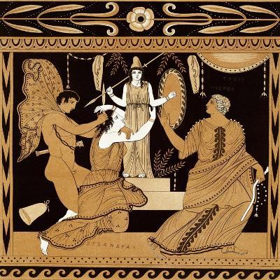 19th Century Greek Vase Illustration of Cassandra with Apollo and Minerva-Stapleton Collection-Giclee Print