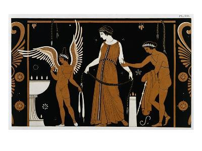 19th Century Greek Vase Illustration of Eros Before an Altar with a Woman-Stapleton Collection-Giclee Print