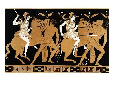 19th Century Greek Vase Illustration of Two Amazons on Horses After Two Youths-Stapleton Collection-Giclee Print