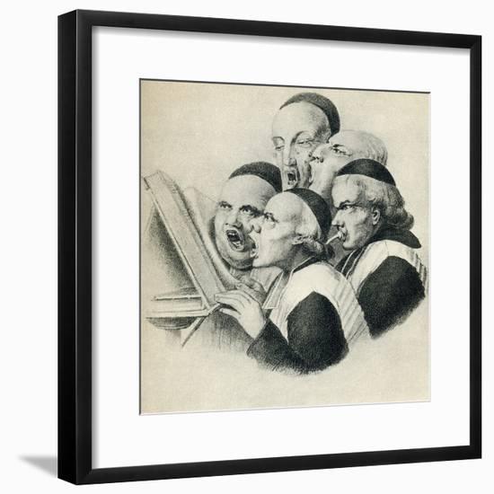 19th Century Satirical Cartoon Showing Singing Dutch Clerics--Framed Giclee Print